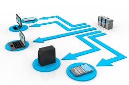 Netwerk das die Verwendung von Web-APIs und Schnittstellen skizziert